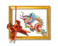 Dragon in the golden frame Royalty Free Stock Images