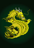 Dragon. Golden dragon with green background Royalty Free Stock Photo