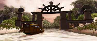 Dragon Gorge. A junk boat travels under a gate to a mysterious gorge Royalty Free Stock Photography