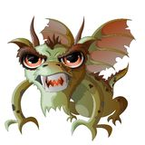 Dragon, vector,green, fire-breathing, big eyes stock illustration