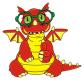 Dragon in green glasses Royalty Free Stock Photography