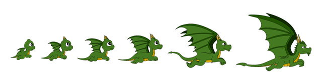 Dragon growth cartoon Stock Images
