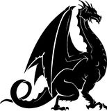Dragon Guard Silhouette. Isolated vector illustration silhouette of fantasy black dragon Royalty Free Stock Image