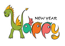 Dragon -- Happy new year. Vector Illustration -- Dragon Happy new year Royalty Free Stock Image