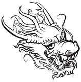 Dragon head. Black and white stock illustration