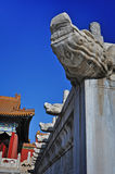 A dragon head. In ancient architecture Royalty Free Stock Images