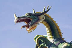 Dragon head. Dragon as  decoration on market in czech Royalty Free Stock Images