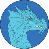 Dragon Head Angry Circle Drawing bleu Image libre de droits
