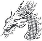 Dragon head b&w. Dragon head (black and white) vector illustration Royalty Free Stock Photos