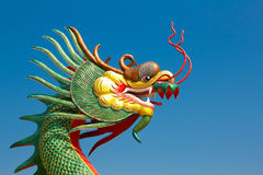 Dragon head with blue sky. Background Royalty Free Stock Photography