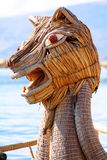 Dragon head boat in Titicaca lake near Puno, Peru Stock Image