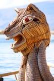 Dragon head boat in Titicaca lake near Puno, Peru Stock Image