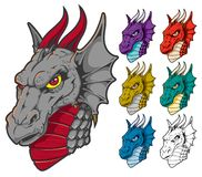 Dragon Head Mascot in Assorted Colors royalty free illustration