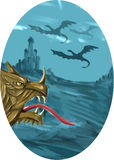 Dragon Head Castle Oval Watercolor Royalty Free Stock Photo