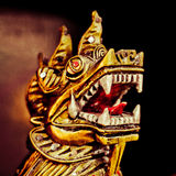 Dragon head closeup. Dragon head. Oriental dragon head closeup. Traditional golden Chinese and Japanese dragon Royalty Free Stock Image