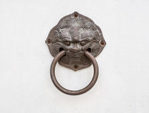 Dragon head door knocker. Isolated on white background, with clipping path Royalty Free Stock Photography