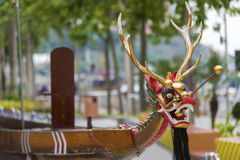 Dragon head on dragonboat. For Chinese dragon boat festival Royalty Free Stock Images