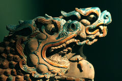 Dragon head eaves tile Stock Images