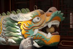 Dragon Head. A fierce looking Dragon Head at one of the temples in Qingdao, China stock photos
