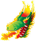 Dragon Head on fire. Artwork inspired with traditional Chinese and Japanese dragon arts stock illustration