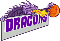 Dragon Head Fire Clutching Basketball Retro. Illustration of a purple dragon head breathing fire clutching basketball ball and banner with the word Dragons set Stock Photos
