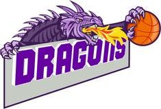 Dragon Head Fire Clutching Basketball Retro Stock Photos
