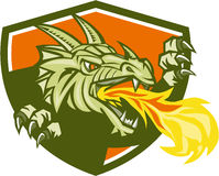 Dragon Head Fire Crest Retro. Illustration of a dragon head breathing fire looking to the side set inside shield crest done in retro style Stock Image