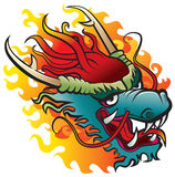 Dragon head in flame. Dragon. Original artwork inspired with traditional Chinese and Japanese dragon arts royalty free illustration