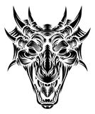 Dragon Head Front Woodcut Royalty Free Stock Photography