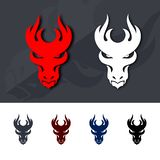 Dragon Head Icons. Filled Flat Signs, Solid Logo Design Template. Illustration on Dark Gray and White Background vector illustration