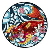 Dragon head and koi carp fish in circle design for tattoo. Silhouette and doodle art koi dragon fish with cherry blossom on water wave and cloud background Stock Images