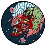 Dragon head and koi carp fish in circle design for tattoo. Silhouette and doodle art koi dragon fish with cherry blossom on water wave and cloud background Stock Image
