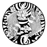 Dragon head and koi carp fish in circle design for tattoo. Silhouette and doodle art koi dragon fish with cherry blossom on water wave and cloud background Royalty Free Stock Images