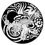 Dragon head and koi carp fish in circle design for tattoo. Silhouette and doodle art koi dragon fish with cherry blossom on water wave and cloud background Royalty Free Stock Photography