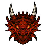 Dragon head mascot in color mosaic style. Stock Photos