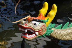 Dragon head. Of Dragon race boat - at Dragon boat race in Duisburg-Innenhafen, Germany on 12th June 2015, Championship of the local School Crews Royalty Free Stock Photos