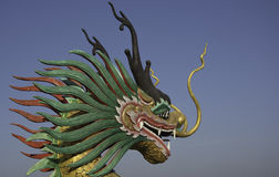 Dragon head sculpture on the temple stairs. With blue sky Stock Image