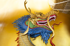 Dragon head sculpture. On wall of temple in Thailand Royalty Free Stock Photography