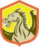 Dragon Head Shield Cartoon verde Fotografie Stock Libere da Diritti