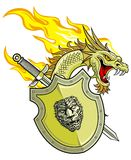 Dragon head with shield and sword Royalty Free Stock Photo