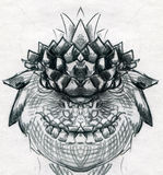 Dragon head sketch Royalty Free Stock Photos