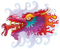 Dragon head with snake tongue. Original artwork inspired with traditional Chinese and Japanese dragon arts stock illustration