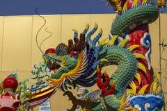 Dragon Head Statue in tempio cinese fotografia stock
