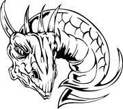 Dragon head tattoo. Back and white vector illustrations Royalty Free Stock Photography