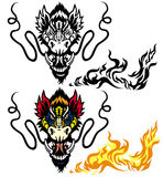 Dragon head. Tattoo illustration isolated on white background Stock Image