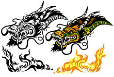 Dragon head tettoo. Dragon head tattoo illustration isolated on white background Stock Images