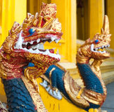 Dragon heads in Buddhist temple in Vientiane Royalty Free Stock Photo