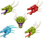 Dragon heads cartoon. Illustration of different dragon heads Royalty Free Stock Images