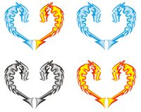 Dragon heart. Fire, water, ashes. Water, fire and ashes - four symbols of a dragon in the form of heart Royalty Free Stock Image