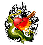 Dragon and heart tattoo design. Fire breathing dragon and heart tattoo design Royalty Free Stock Images
